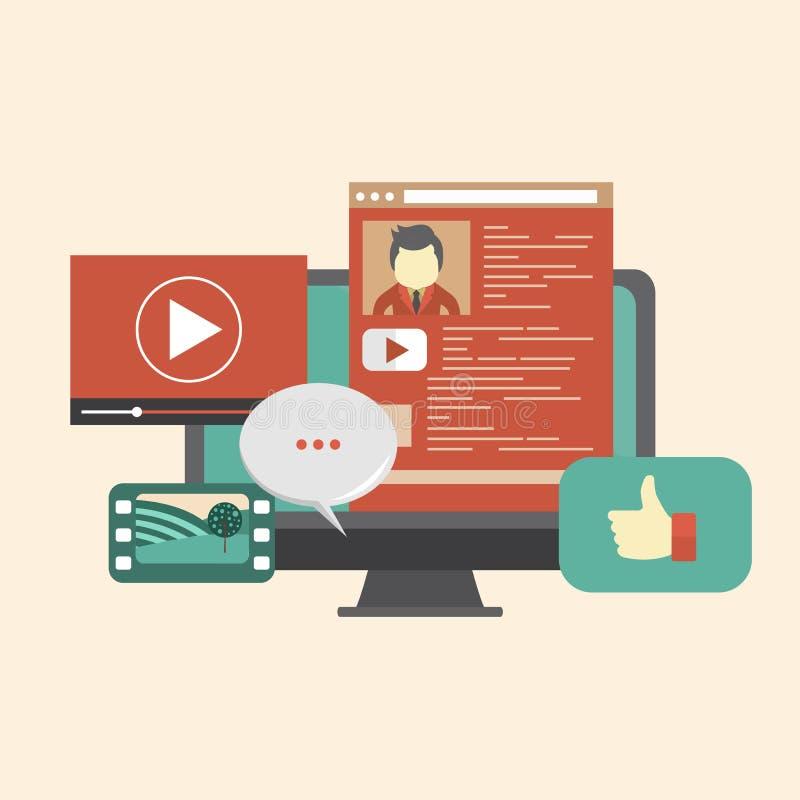 Thème social de media Site Web social de réseau Surfer l'Internet et causerie du concept Vecteur plat illustration libre de droits