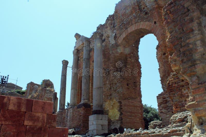 Théâtre antique de Taormina image libre de droits