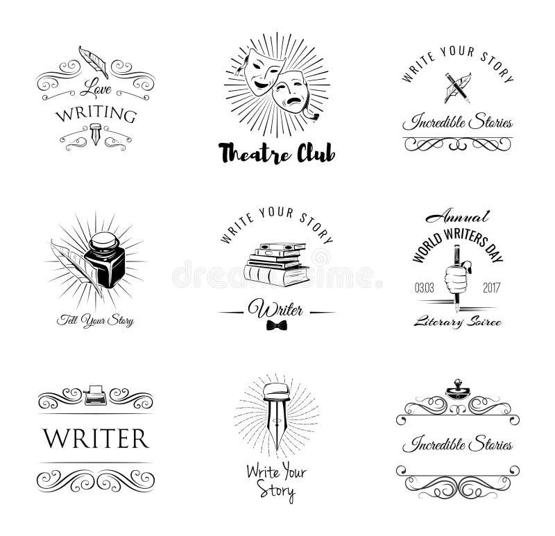 Théâtre, auteur, littérature Ensemble de labels et d'insignes illustration libre de droits