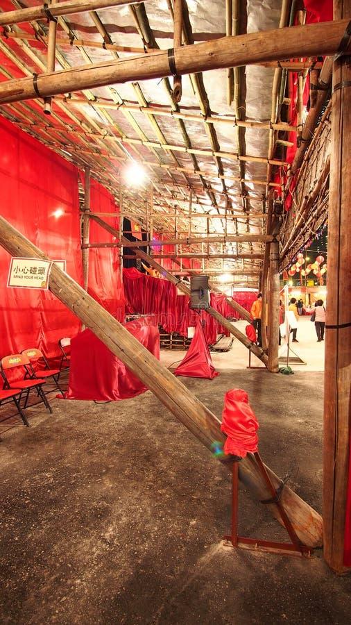 Théâtre chinois en bambou occidental d'opéra de Kowloon en Hong Kong images stock