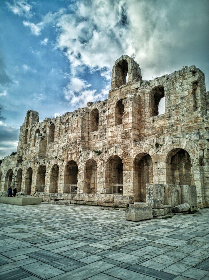 Théâtre d'Athènes vers le bas de la colline de l'Acropole photographie stock