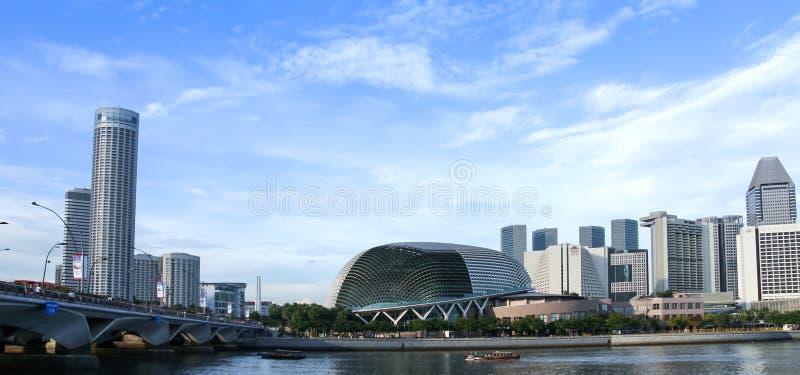 Théâtre d'esplanade d'horizon de Singapour photographie stock libre de droits