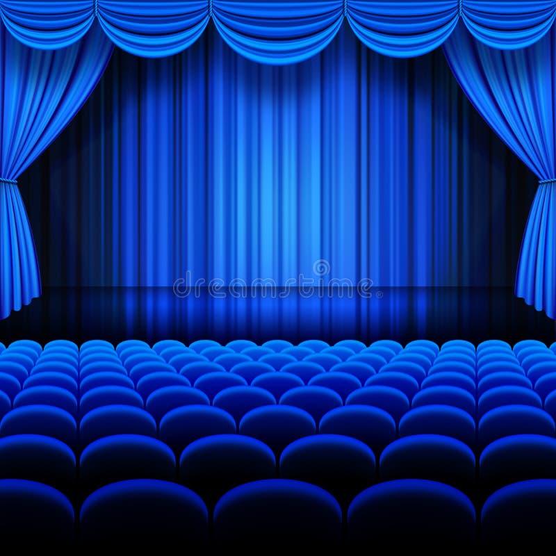 Théâtre de bleu de vecteur illustration stock