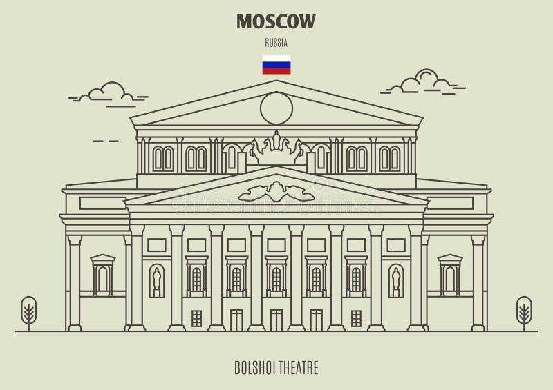 Théâtre de Bolshoi à Moscou, Russie Icône de point de repère illustration stock