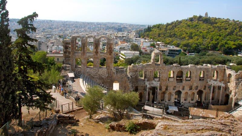Théâtre de Dionysus Eleuthereus, Athene, Grèce photographie stock libre de droits