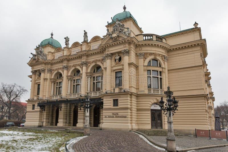 Théâtre de Juliusz Slowacki dans la vieille ville de Cracovie, Pologne images stock