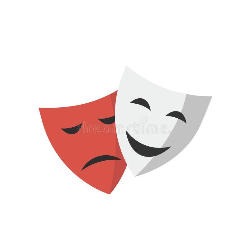 Théâtre de masque d'isolement sur le fond blanc illustration stock