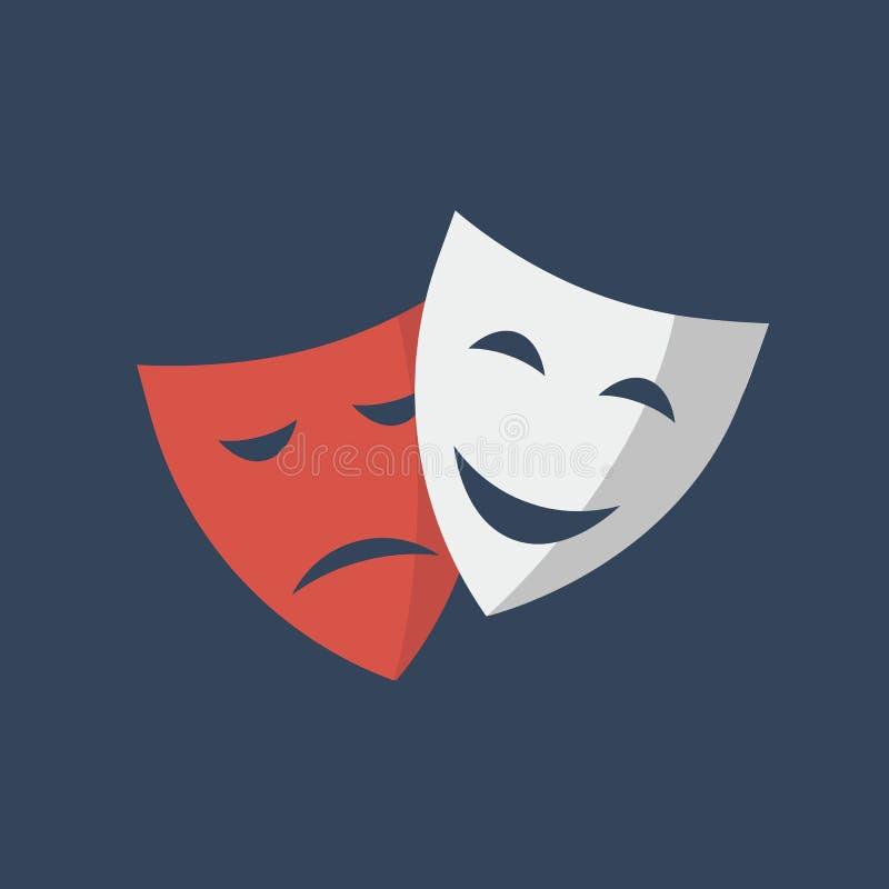 Théâtre de masque d'isolement sur le fond blanc illustration de vecteur