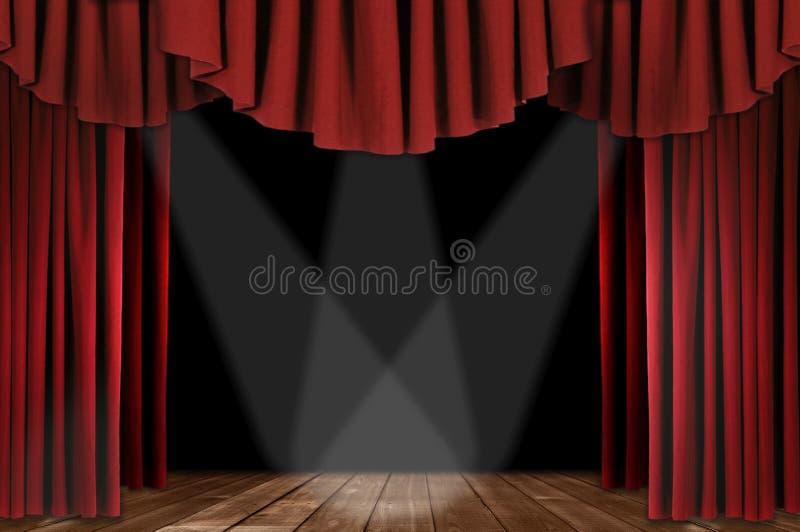 Théâtre drapé par Horozontal rouge illustration libre de droits