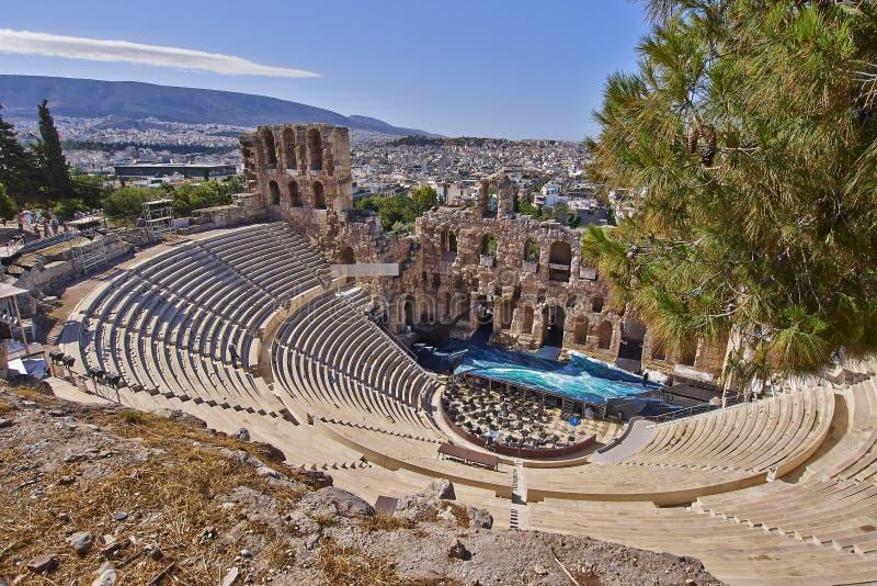 Théâtre du grec ancien sous l'Acropole d'Athènes images libres de droits