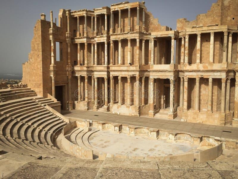 Théâtre magnifique de Sabratha images libres de droits