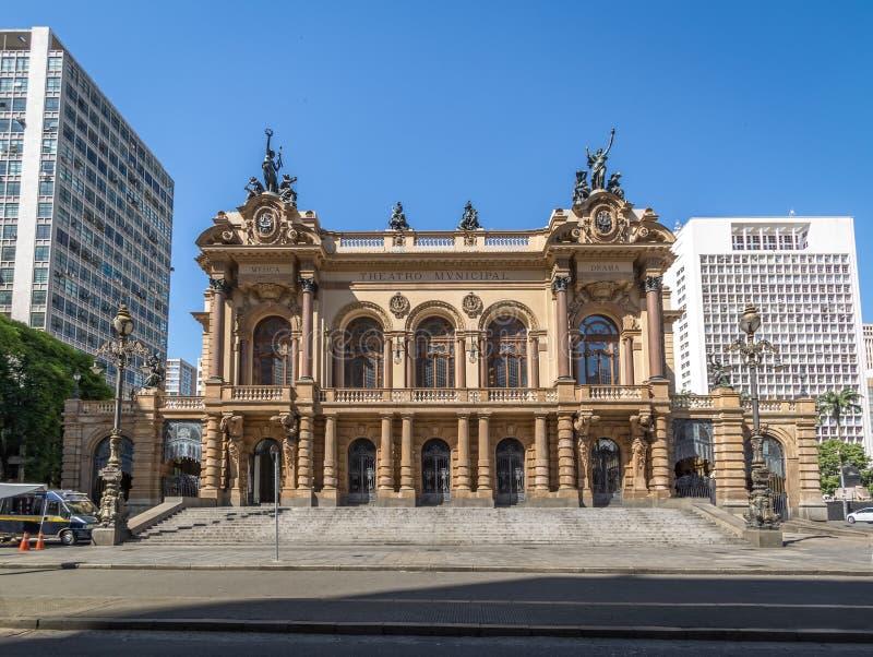 Théâtre municipal de Sao Paulo - Sao Paulo, Brésil images stock