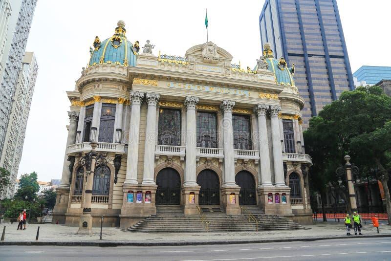 Théâtre municipal en Rio de Janeiro image libre de droits