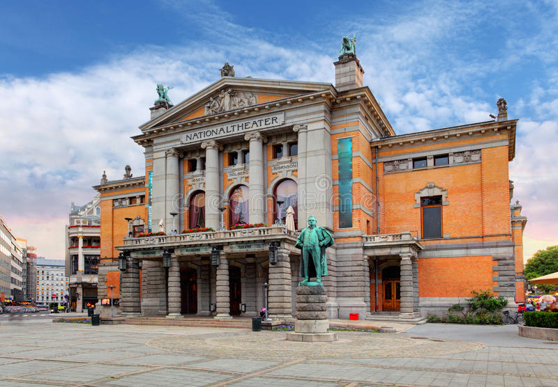 Théâtre national d'Oslo, Norvège photographie stock libre de droits