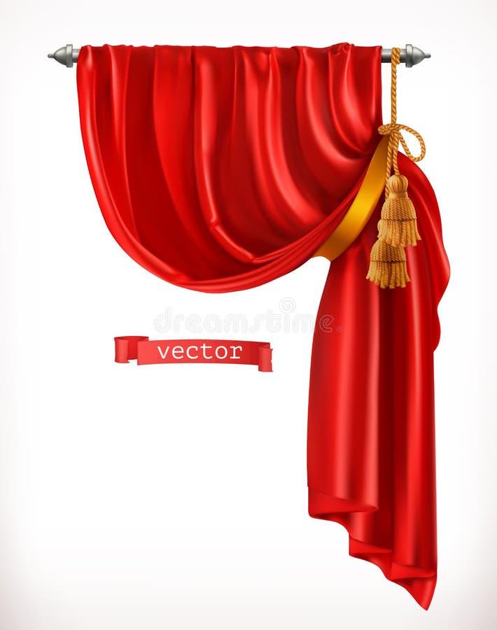 Théâtre Rideau rouge vecteur 3d illustration stock