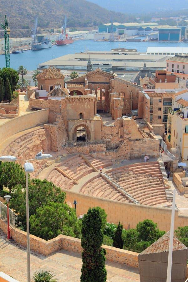 Théâtre romain antique et ruines de cathédrale Carthagène, Espagne photographie stock libre de droits