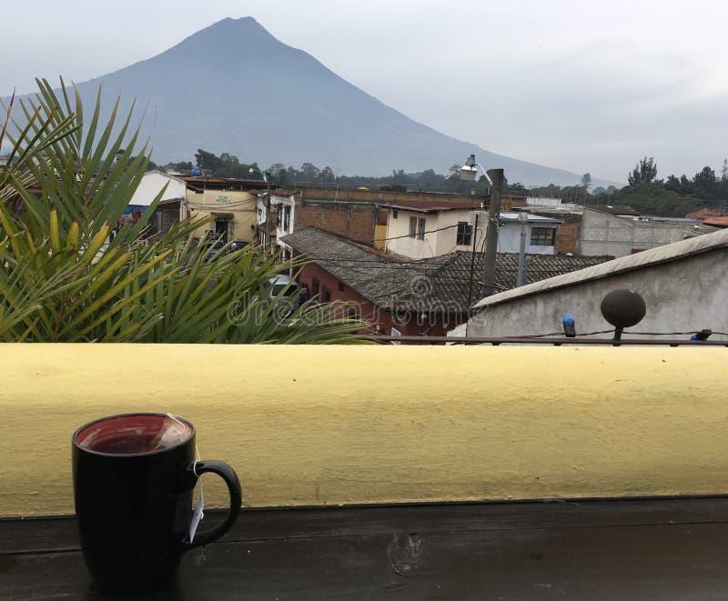 Thé avec Acatenango photographie stock