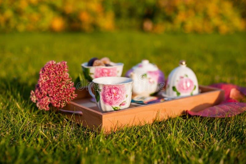 Thé avec des bonbons dehors image stock