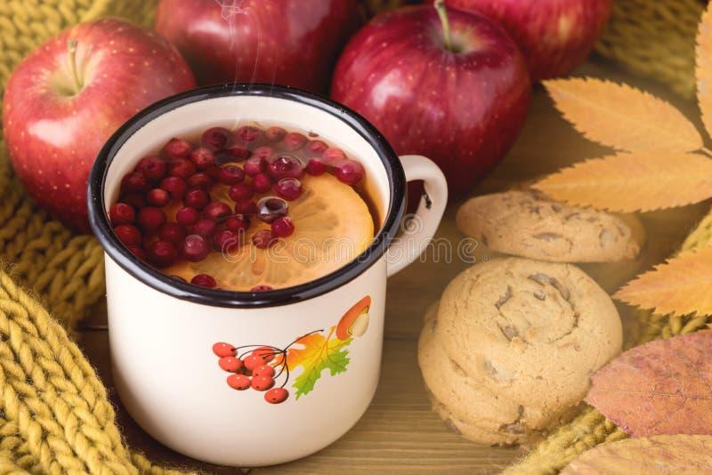 Thé avec la baie et l'agrume sur un fond en bois, écharpe de laine jaune d'Autumn Postcard Tasty Cookies Red Apple d'en haut photographie stock libre de droits