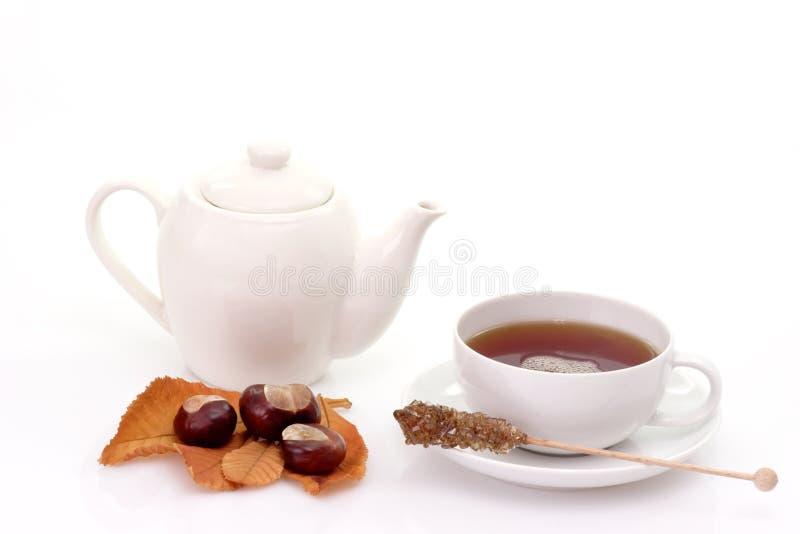 Thé avec la théière photo stock