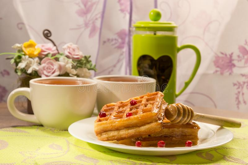 Thé avec votre matin préféré images libres de droits