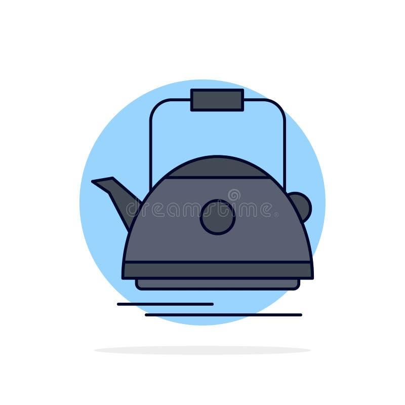 Thé, bouilloire, théière, camping, vecteur plat d'icône de couleur de pot illustration libre de droits