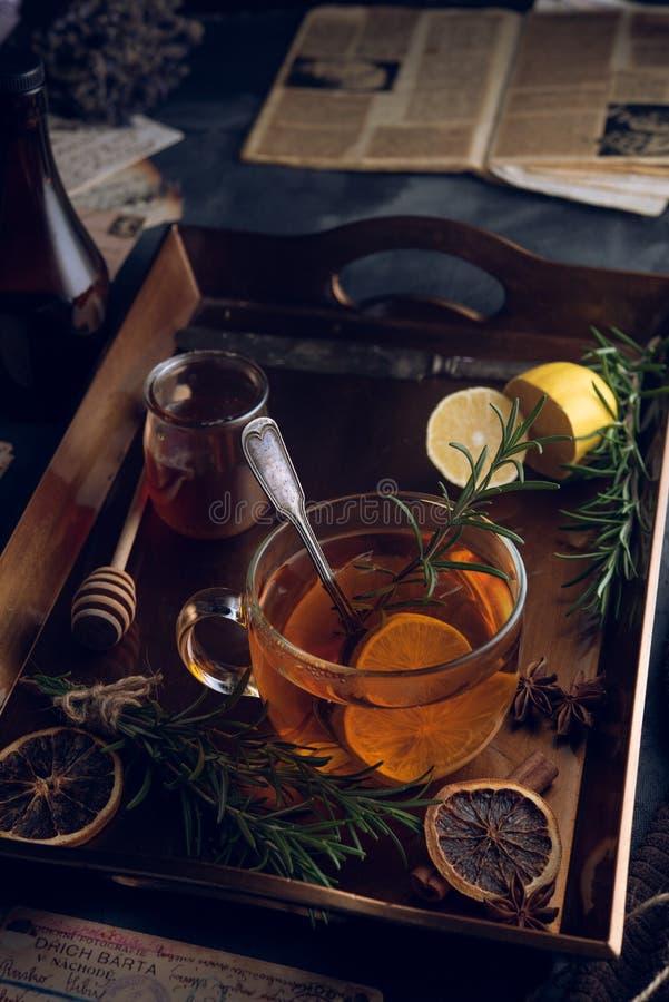 Thé chaud dans la froide soirée photographie stock libre de droits