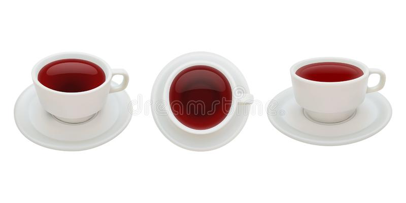 Thé chaud, trois positions de tasse avec la soucoupe, vecteur d'isolement et réaliste illustration stock