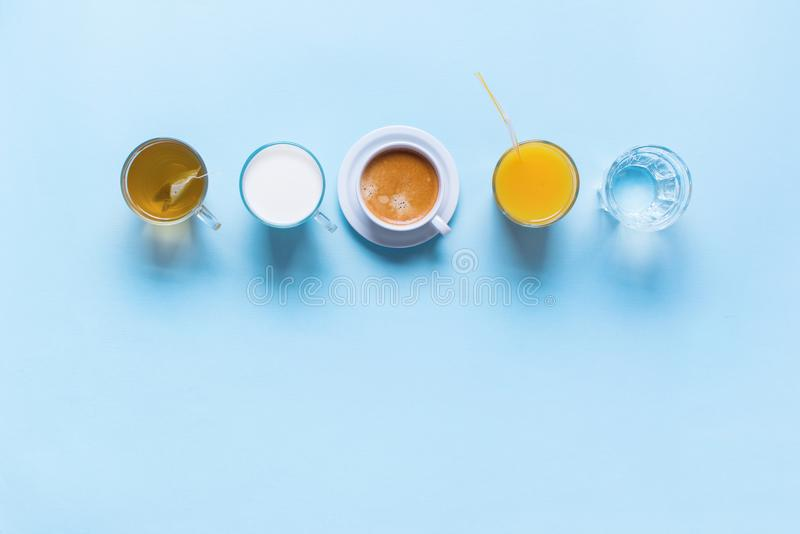 Thé coloré utile de lait de café de boissons de groupe photo libre de droits