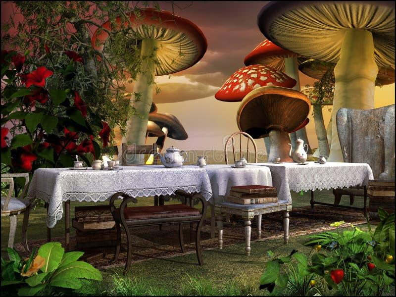 Download Thé dans le jardin magique illustration stock. Illustration du champignon - 45372328