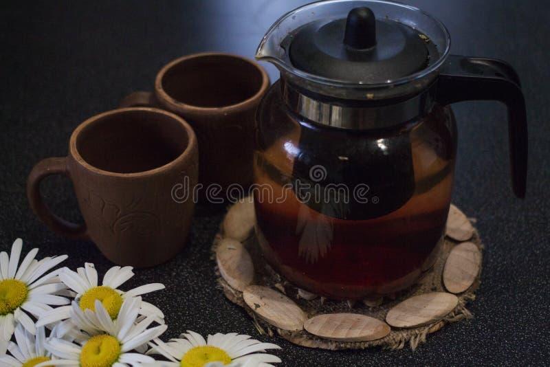 Thé dans une théière en verre avec des camomilles photographie stock libre de droits