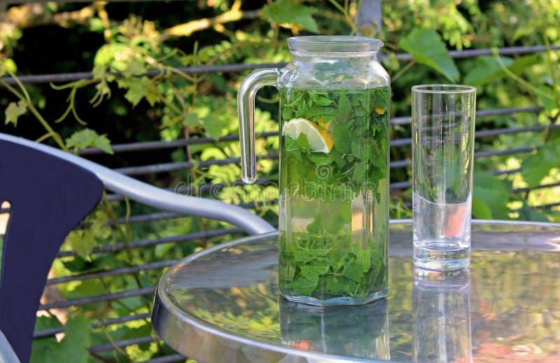Thé de baume de citron dans un pot en verre sur une table de terrasse photos stock