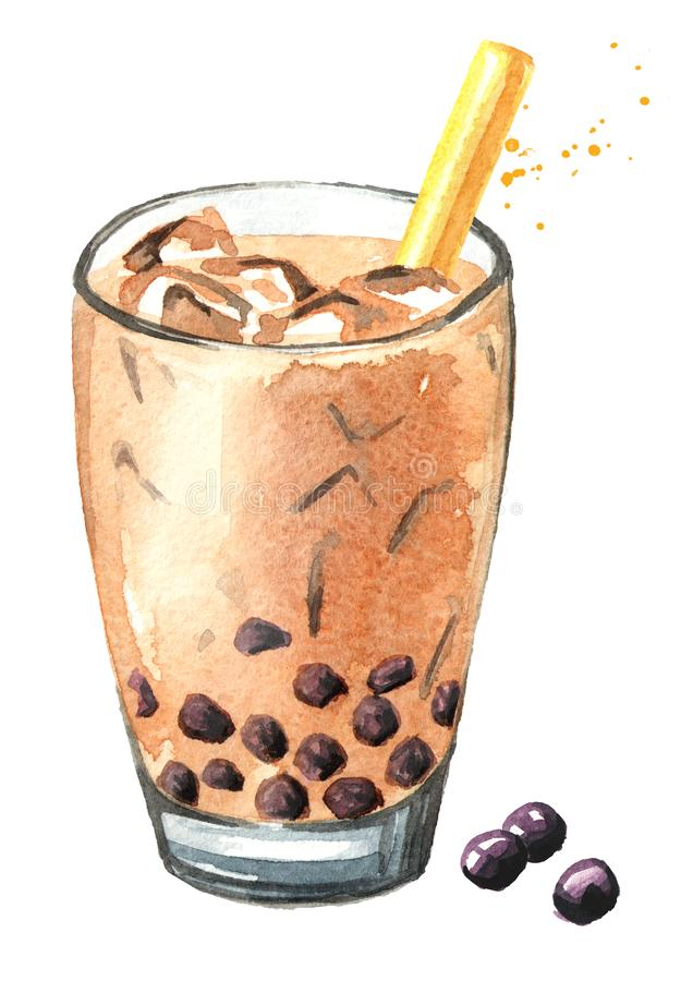 Thé de bulle de lait de Taïwan Concept de nourriture Illustration tir?e par la main d'aquarelle, d'isolement sur le fond blanc illustration libre de droits