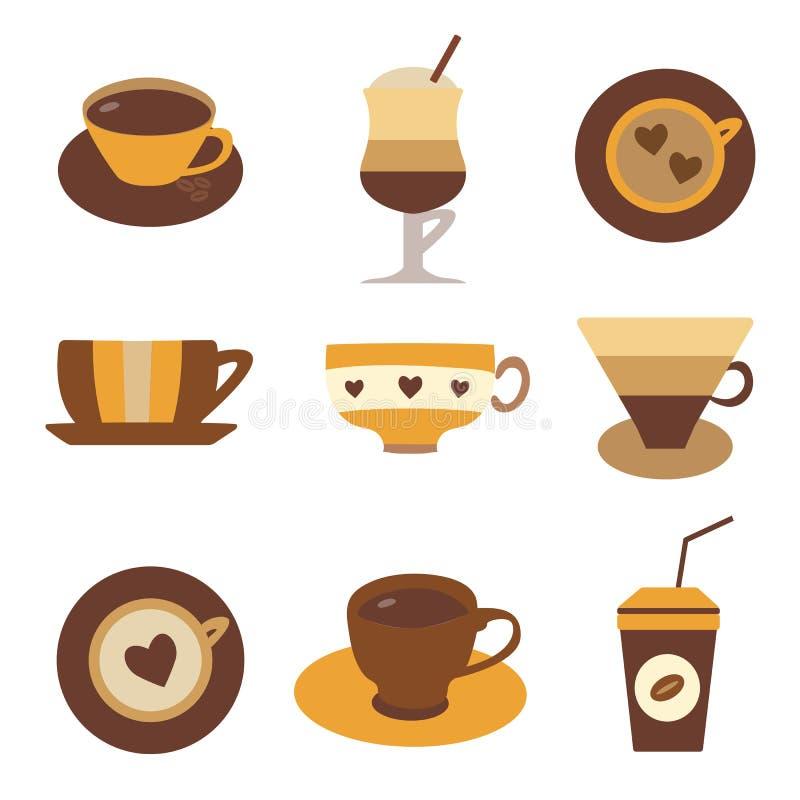Thé de café ou chocolat chaud dans des tasses illustration libre de droits
