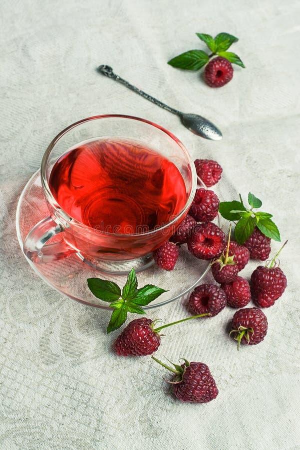 Thé de framboise dans une tasse en verre image stock