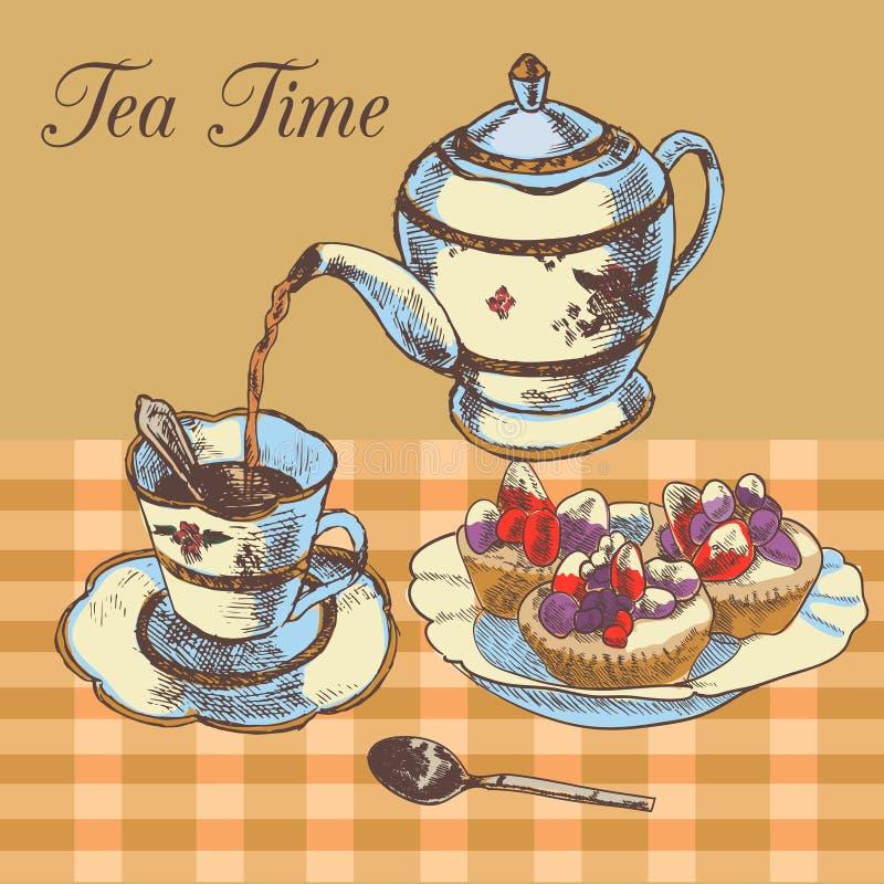 Thé de l'anglais de théière et de tasse illustration stock
