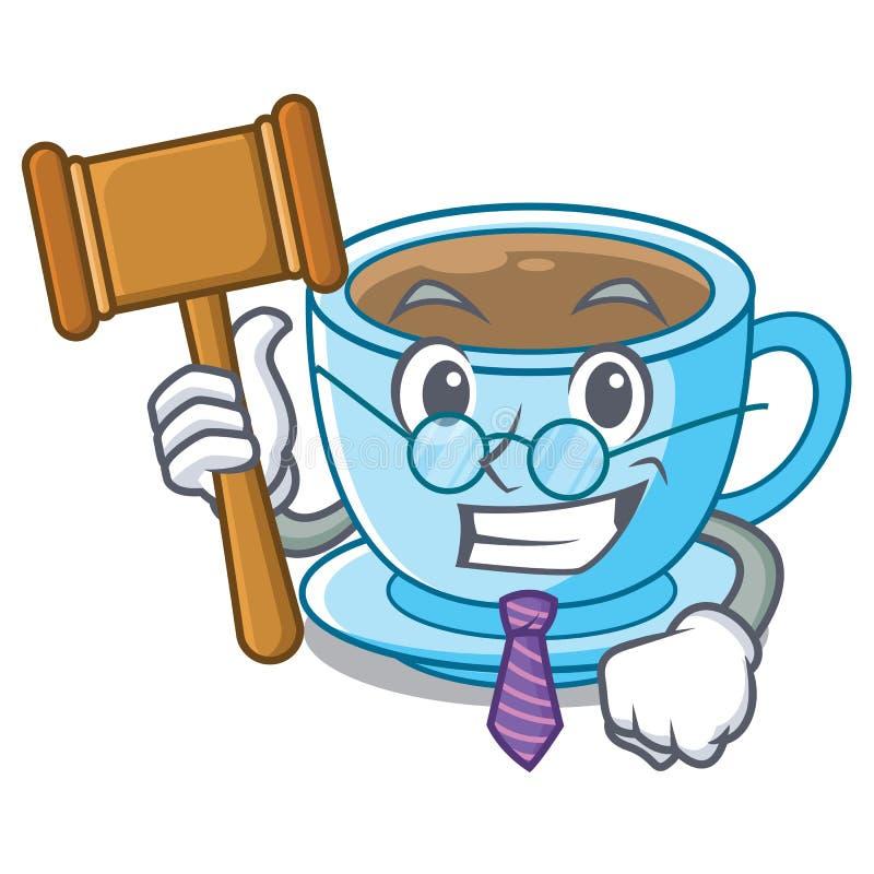 Thé de lait de juge d'isolement avec la mascotte illustration stock