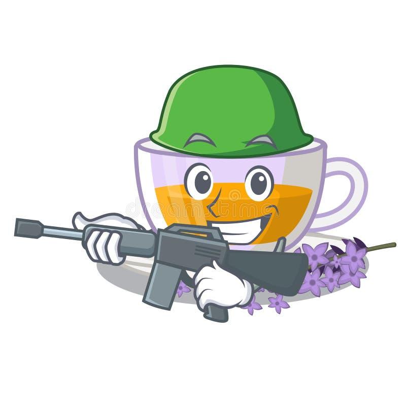 Thé de lavande d'armée dans la forme de mascotte illustration stock
