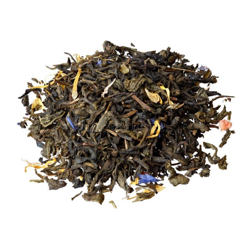 Thé de mélange Fleur de bleuet, calendula Verts glacés, orange, images stock