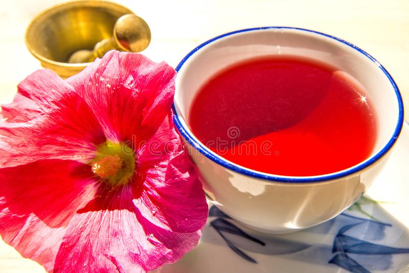 Thé de mauve, tasse avec la fleur de mauve et mortier photos stock