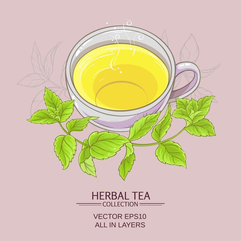 Thé de tasse ou de menthe poivrée illustration de vecteur