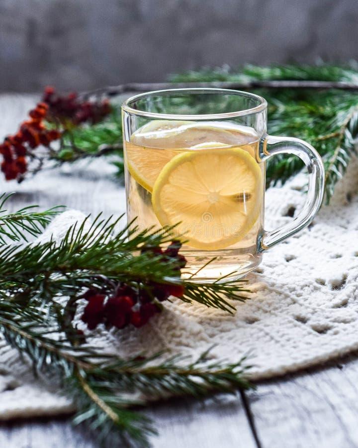thé en bon état avec le citron dans un décor en verre de tasse de sapin, de sorbe et d'une écharpe molle image libre de droits