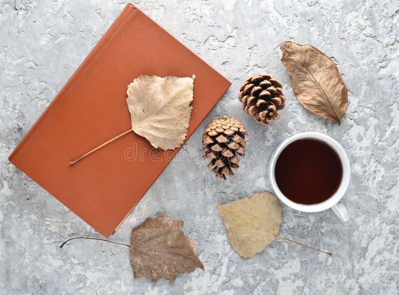 Thé en lisant un livre Le thé, un livre, feuilles tombées, se cogne sur une table concrète L'atmosphère d'hiver d'automne pour l' image stock