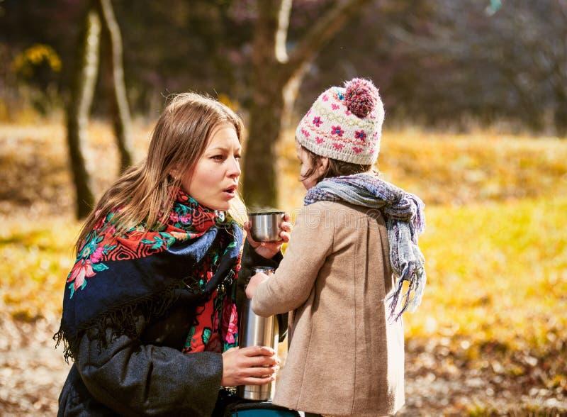 Thé en parc d'automne images stock