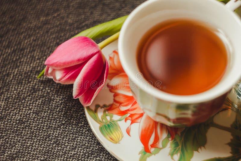 Thé et tulipe photos stock