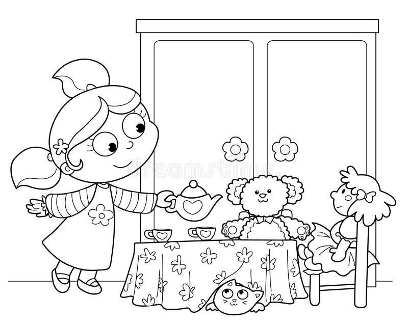 Thé mignon de portion de jeune fille illustration stock