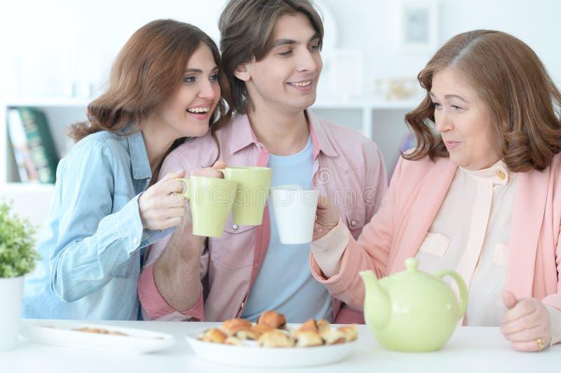Thé potable de famille heureuse ensemble images libres de droits