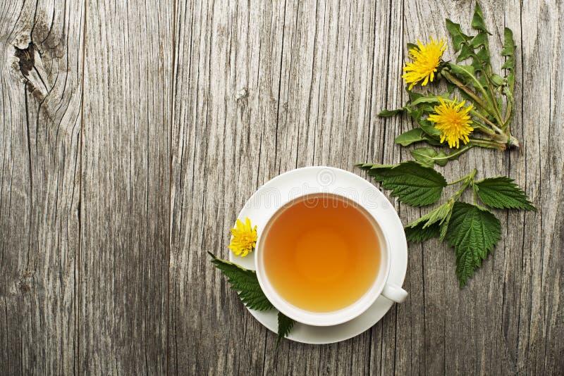 Thé sain avec des feuilles de pissenlit et d'ortie photos stock