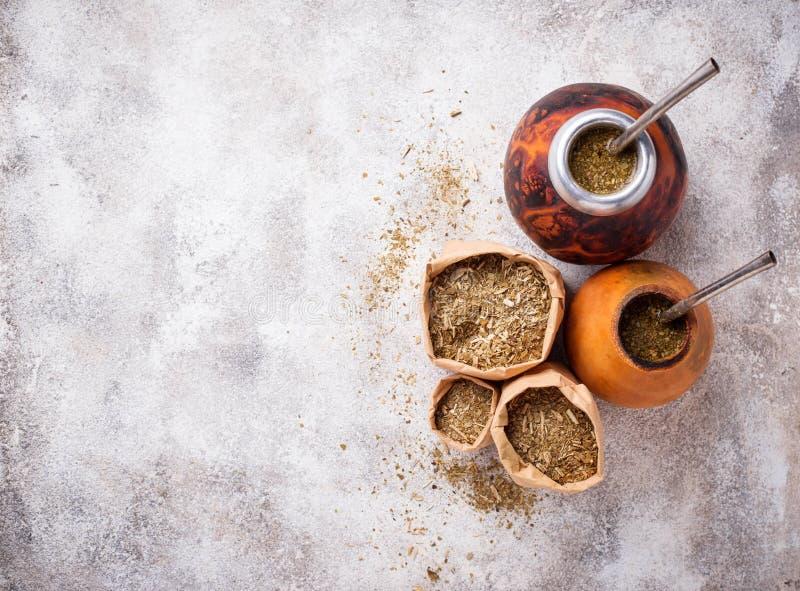 Thé traditionnel de compagnon de yerba de l'Argentine photo libre de droits