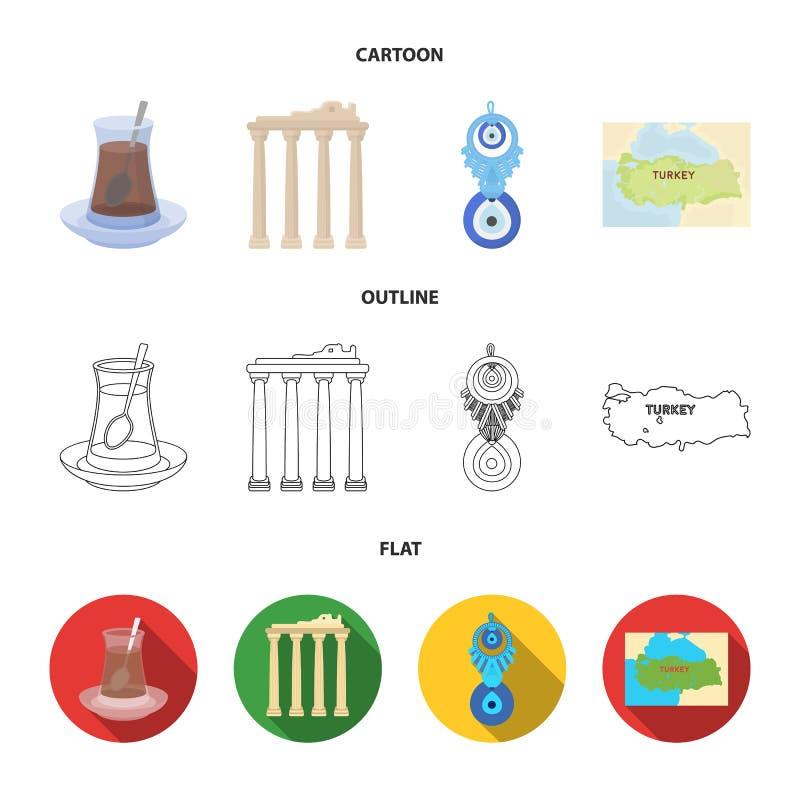 Thé turc, amulette, ruines de l'antiquité, carte du territoire Icônes réglées de collection de la Turquie dans la bande dessinée, illustration stock
